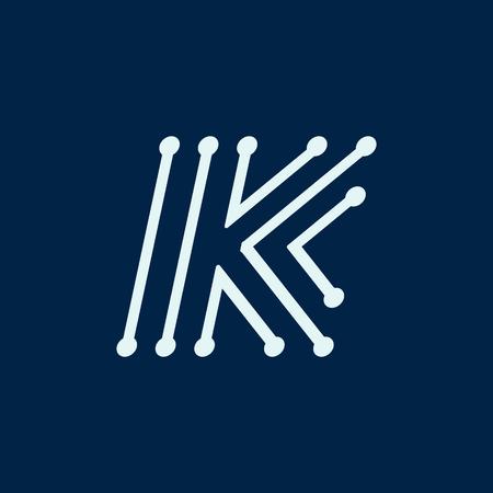 Letter K font maze italic, vector geometric alphabet on dark background