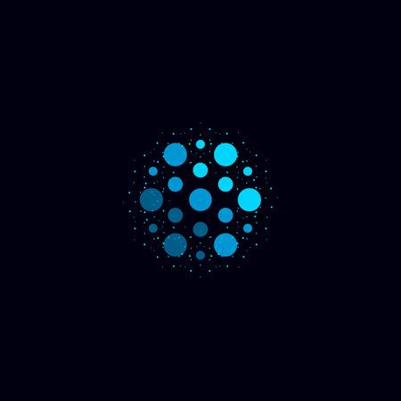 Abstract water icon, blue color unusual aqua logo. Circular vector illustration on black background.