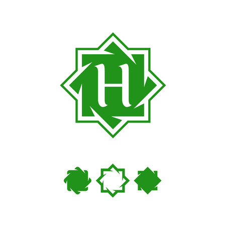 Illustration of green color octagonal star design with letter H inside. Illustration