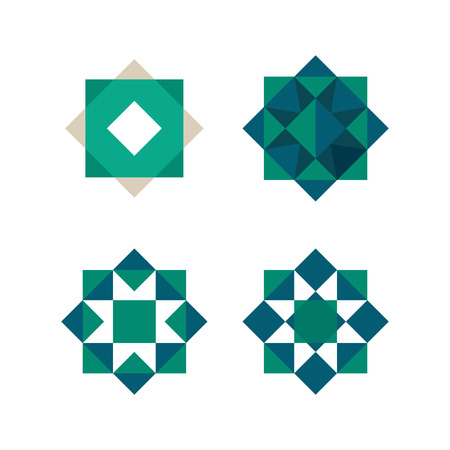 Green triangles and squares shape, Abstract geometrical tile, vector template.