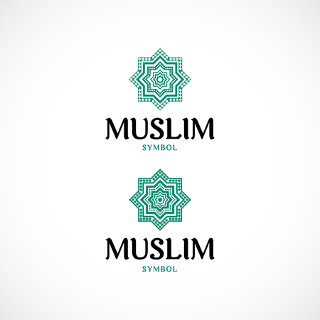 Octagonal star, green color ornamental muslim symbol. Vector illustration.