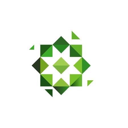 Green cross, herbs logotype. Octagonal star, muslim symbol, unusual geometrical logo design. Vector illustration or logotype template. Vectores