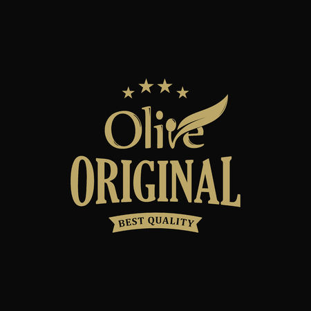 Extra virgin Olive oil premium quality. Olives branch vintage label. Healthy products retro green vector logo template. Eco food.