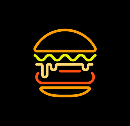 Burger abstract outline vector logo template, fast food isolated line art stylized icon.