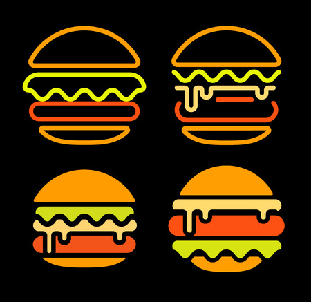 Burger abstract outline vector logo set template, fast food isolated neon line art stylized icon collection, unusual illustration on black background Illustration