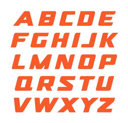 Uppercase Letters Set Rectangular Flat Font Flattened Alphabet