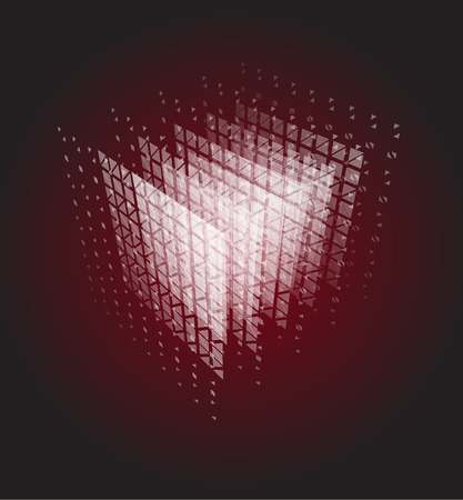 Abstract cube of particles, computer computation power vector illustration. Data center, bigdata, server room unusual image on black and red background