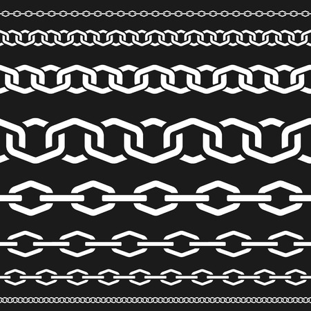Different scale chains, protection seamless pattern, fencing white vector design element silhouette vector illustration. Illustration