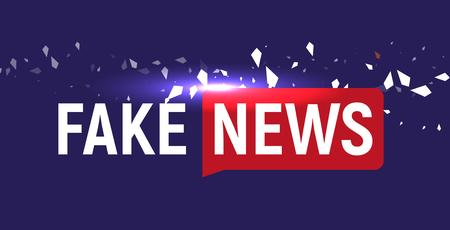 Fake news show logo template bubble speech news on blue background fake news show logo template bubble speech news on blue background with fragments particles maxwellsz