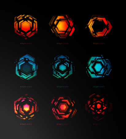 Abstract constructor logo, futuristic technology, icons template. Geometric design, digital explosion. Bright light space, digital tech of future, vector illustration.