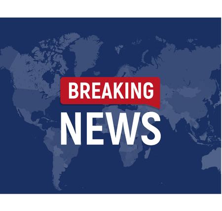 Breaking news modern concept. World news template on world map backgorund. Vector illustration.