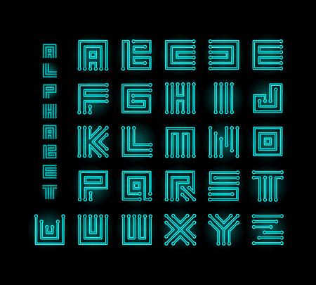 Tech ront, technology vector alphabet, chipset stylized letters, cpu data base letter logos set template, digital microchip linear maze vector illustration on black background. 일러스트