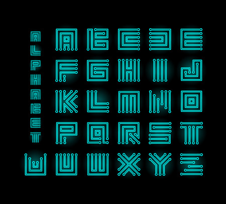Tech ront, technology vector alphabet, chipset stylized letters, cpu data base letter logos set template, digital microchip linear maze vector illustration on black background. Çizim