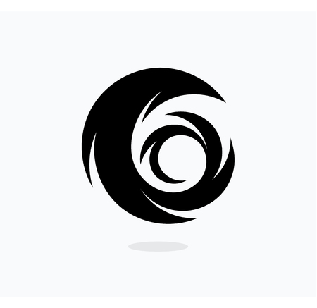 Hurricane icon template. Swirl vector illustration. Abstract tail black icon.