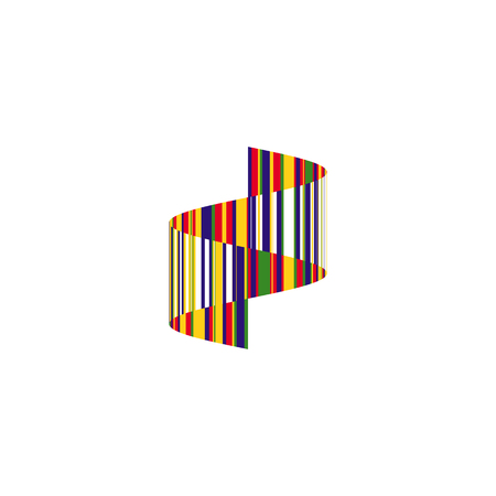 Colorful striped wavy zigzag icon. Abstract vertical ribbon emblem design, isolated wave shape, unusual logo template. Creative art space logotype. 일러스트