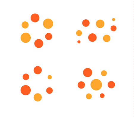 Loading process vector icon set. Orange and red light lamp indicator icons.