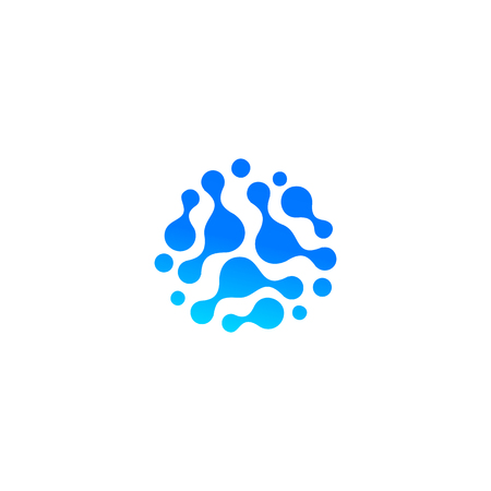Blue abstract water drop icon. Molecular compound, chemical reaction. Abstract shape, Isolated logo, unusual sillhoutte symbol.