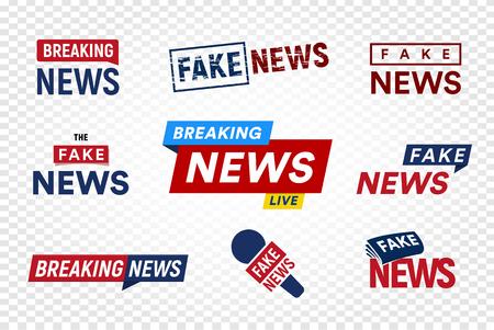 Breaking and fake news logo template on transparent background. Headline TV Stamp. World news vector illustration set. Stock Photo