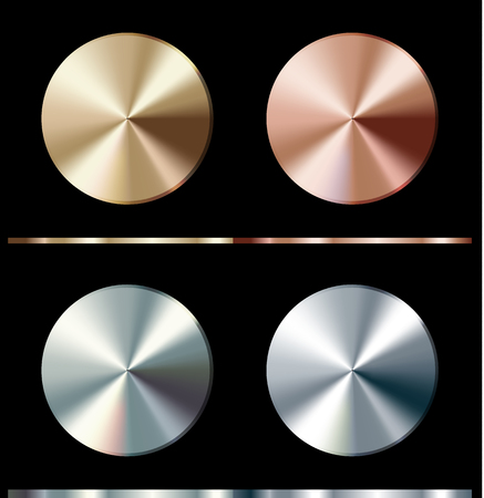 Metal gradient template. Gold, silver, bronze, platinum, steel, round surface illustration.