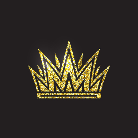 Queen crown, royal gold headdress. King golden accessory. Isolated vector illustrations. Elite class symbol on black background