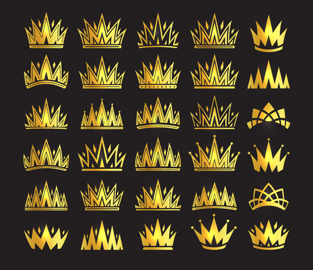 Queen crown, royal gold headdress. King golden accessory. Isolated vector set illustrations. Elite class symbol collection on black background.