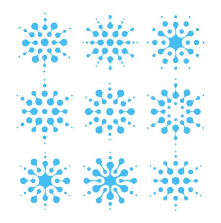 Wasser abstrakte Symbolsatz. Klimaanlage und Reinigungsschilder. Luftfeuchtigkeit blaue Insignien. Flüssiges Logo, Formen von verbundenen Punkten, ungewöhnliche Logo-Vektorillustration auf weißem Hintergrund. Logo