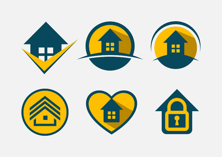 Real estate icon set vector illustration. Vettoriali