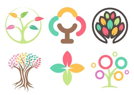 木のアイコンのセット。抽象はアイコンを残します。エコパークアイコンコレクション。カラフルな葉デザイン要素。