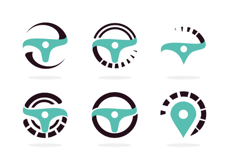 Automotive icon set. Abstract helm vector illustration collection.