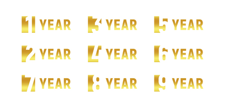 Anniversary of company gold negative space sign business birthday anniversary of company gold negative space sign business birthday vector logo set stopboris Images