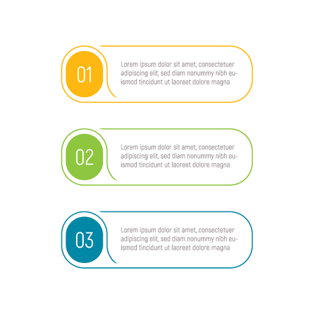 Drei Schritte, Infografik-Elemente, Schritt-Schaltfläche, Vektorillustration, Web-Vorlage. App-Schnittstellenelement. Vektorgrafik