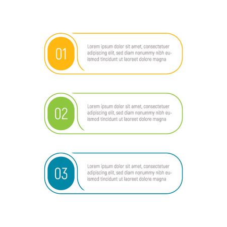 Tre passaggi, elementi infografici, pulsante passo, illustrazione vettoriale, modello web. Elemento dell'interfaccia dell'app. Vettoriali