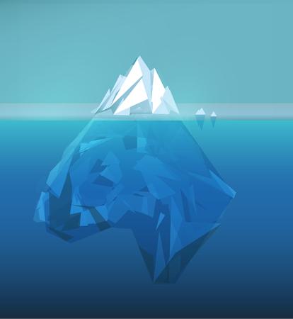IJsberg veelhoekige illustratie, zee-ijsberg, onderwaterijs, abstracte veelhoek ijsschots, gletsjer vector afbeelding. Vector Illustratie