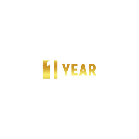 1 year, happy birthday gold logo on white background, corporate anniversary vector minimalistic sign, greeting card template.