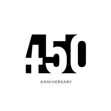 four hundred fifty anniversary, minimalistic logo. Four hundred fiftieth years, 450th jubilee, greeting card. Birthday invitation. 450 year sign. Black negative space vector illustration on white background.