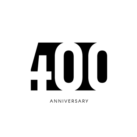 four hundred anniversary, minimalistic logo. Four-hundredth years, 400th jubilee, greeting card. Birthday invitation. 400 year sign. Black negative space vector illustration on white background.