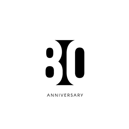 Eighty anniversary, minimalistic logo. Eightieth years, 80th jubilee, greeting card. Birthday invitation. 80 year sign. Black negative space vector illustration on white background.