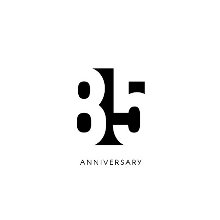 Eighty five anniversary, minimalistic logo. Eighty-fifth years, 85th jubilee, greeting card. Birthday invitation. 85 year sign. Black negative space vector illustration on white background. 矢量图像