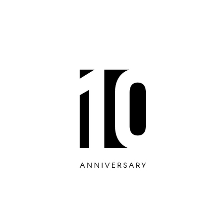 Ten anniversary, minimalistic logo. Tenth years, 10th jubilee, greeting card. Birthday invitation. 10 year sign. Black negative space vector illustration on white background.