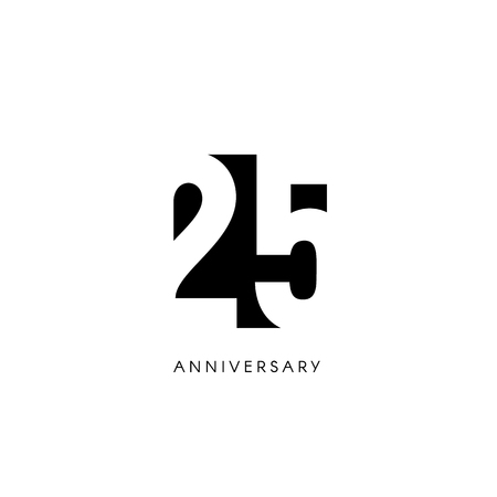 Twenty five anniversary, minimalistic logo. Twenty fifth years, 25th jubilee, greeting card. Birthday invitation. 25 year sign. Black negative space vector illustration on white background. Illusztráció