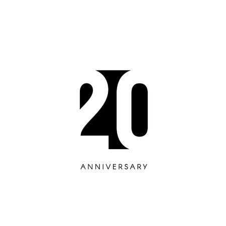 20 Jahre Jubiläum, minimalistisches Logo. Zwanzigste Jahre, 20. Jubiläum, Grußkarte. Geburtstagseinladung. 20 Jahre Zeichen. Schwarze negative Raumvektorillustration auf weißem Hintergrund.