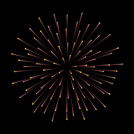 Fireworks. New Year celebration. Festive night decoration, design element. Vector isolated illustration on black background. Independence Day Illustration