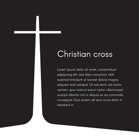 Christian cross silhouette. Religion symbol. White cross on black background with text, vector illustration template for broschure, poster and web banner design. Foto de archivo - 103302259