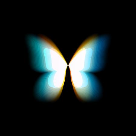 Logo isolato farfalla. Ali di farfalle colorate luminose, movimento dinamico, effetto sfocato. Logotipo di vettore astratto su sfondo nero.