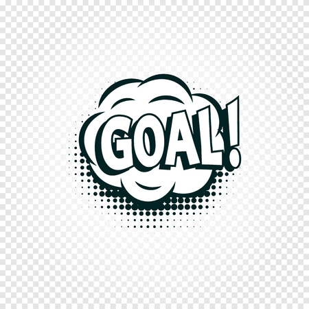 Goal icon comics cloud with halftone shadow, goal shout text in bubble, funnies stylized on transparency background. Soccer, football design element, logo template, isolated illustration.