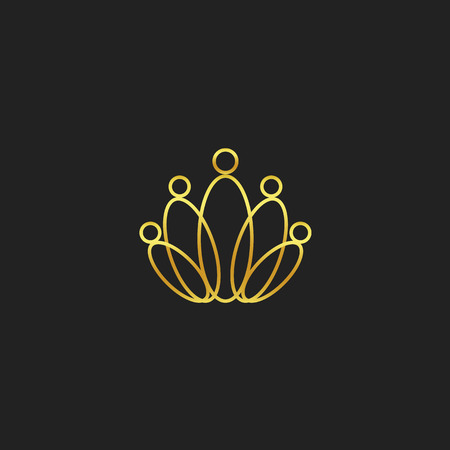 Golden crow, people unity symbol, royal school, government sign, abstract crown with abstract people icon. Kingdom home, luxury brand, supreme court vector isolated illustration on black background. Illustration