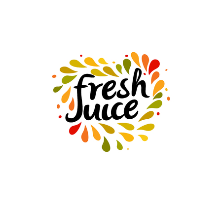 Fresh juice emblem. Colorful juice drops splashed around the heart shape with text inside on white background. Modern fun style logo template. Ilustração