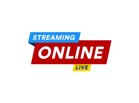 Logotipo de transmisión en línea, icono de transmisión de video en vivo, diseño de banner de TV digital en línea por Internet, botón de transmisión, botón de reproducción de contenido multimedia, ilustración vectorial sobre fondo blanco Foto de archivo - 104192204