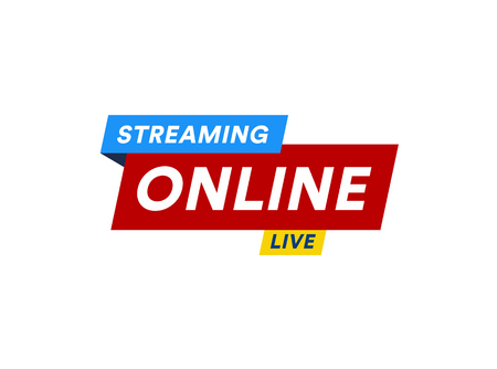 Online Streaming logo, live video stream icon, digital online internet TV banner design, broadcast button, play media content button, vector illustration on white background