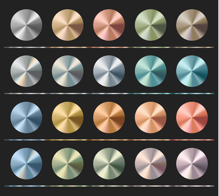 Gradients set template, metallic texture, radial glossy background, vector illustration.